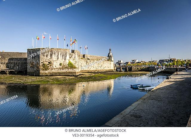 View of Concarneau citadel (department of Finistère, region of Bretagne, France)