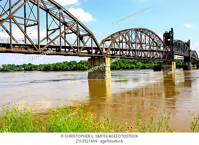The 1899 Rock Island Railroad Bridge across the Arkinsas River from North Little Rock to the William J. Clinton Presidential Center and Park