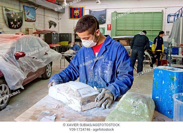 Automobile paint workshop, Secundary School, Salesians Sant Vicenç dels Horts, Baix Llobregat, Barcelona, Catalonia, Spain