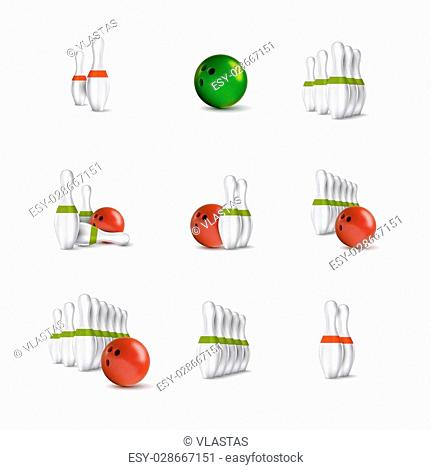 Bowling items isolated on the white background. Bowling skittles and bowls as vector design elements