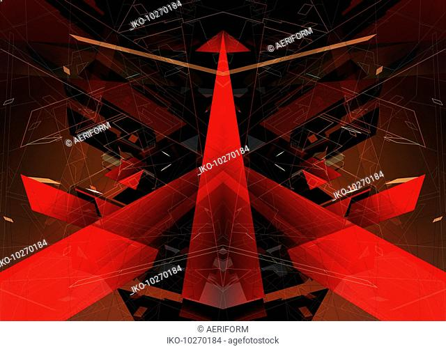 Abstract red arrow and geometric shape pattern