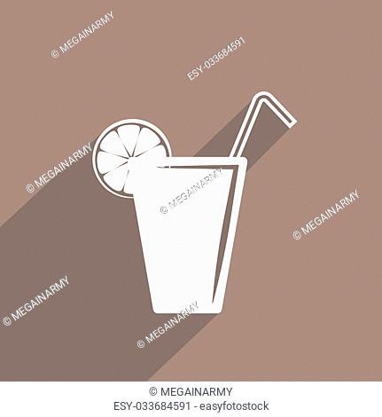 juice glass with lemon web flat icon illustration