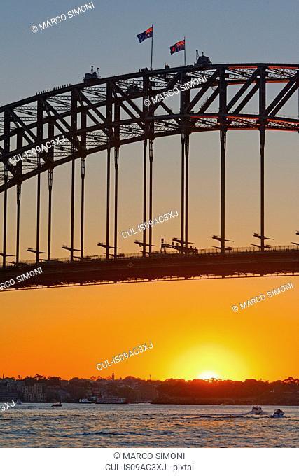 Silhouetted detail of Sydney Harbor Bridge, Sydney, Australia