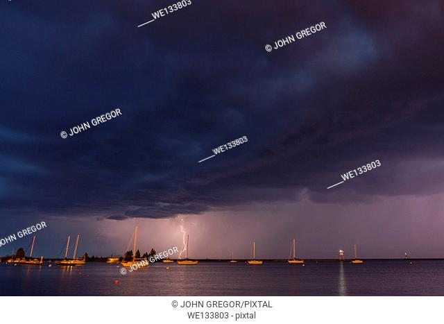 Lightning over Grand Marais Harbor, Grand Marais, Minnesota, Lake Superior