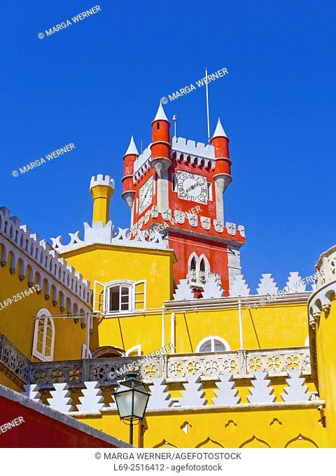 Palácio Nacional da Pena, 1840, The Pena National Palace, Clock tower, Sintra, Portugal, Europe