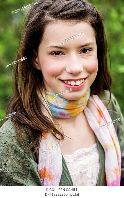 Portrait of a girl with brown hair and brown eyes; Washington, United States of America