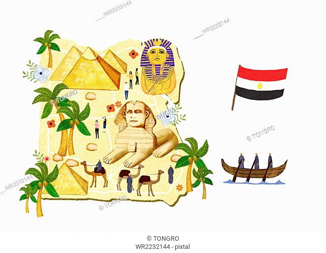 Map of Egypt with global landmarks