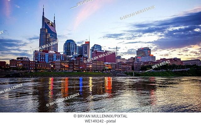 Nashville, Tennessee city skyline across the Cumberland River (logo's blurred for commercial use)
