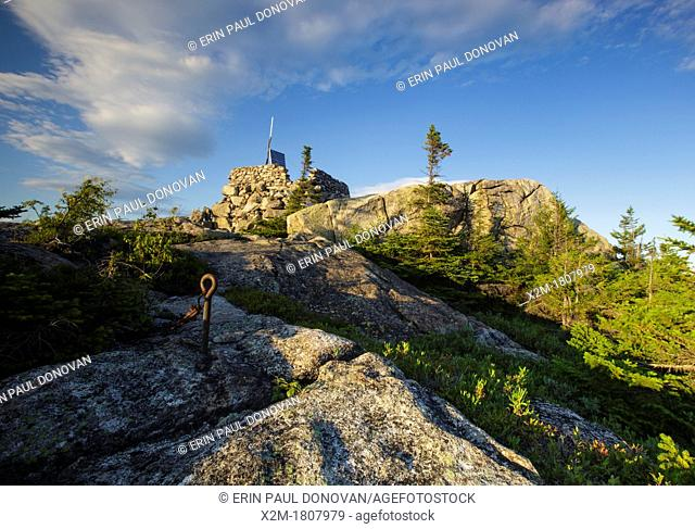 Middle Sister Fire tower on Middle Sister Mountain in Albany, New Hampshire USA during a summer months  This fire tower was in operation from 1927-1948