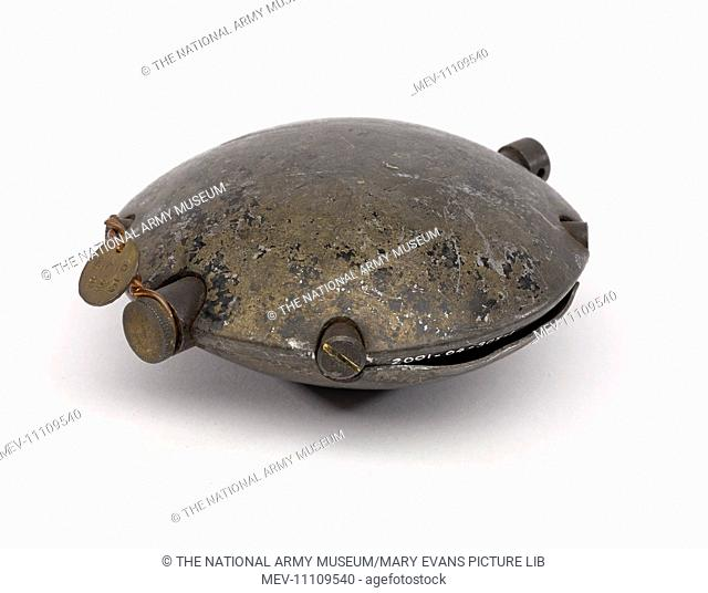 German discus grenade, 1914 (c)-1918. With metal tag. From the collection of the former Buffs Regimental Museum