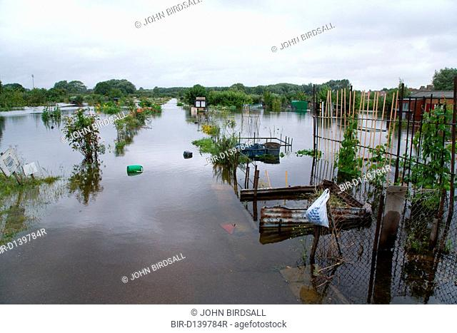 Allotments flooded after torrential rain caused flooding in Oxford and the Thames Valley area, July 2007