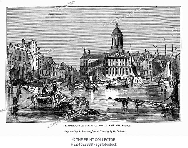 Stadthouse and part of the city of Amsterdam, 1843. An engraving from The Art-Union Scrap Book, Henry G Bohn, London, 1843