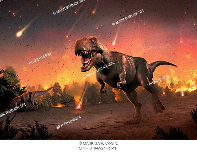 Artwork of tyrannosaurs fleeing a hail of impact ejecta. Some 65 million years ago, the impact of an asteroid or comet with the Earth provoked one of...