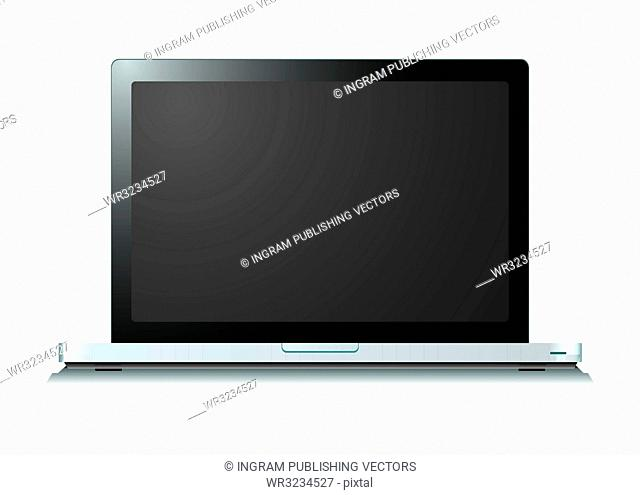 Modern silver laptop computer with shadow on white background