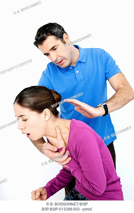 First aid techniques. In case of choking, give the victim a maximum of five back slaps to try and dislodge the article from the airway