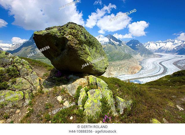 Aletsch glacier, Switzerland, Europe, canton Valais, protected area, UNESCO heritage, glacier, moraines, ice, mountains, clouds, rocks, cliffs, lichens