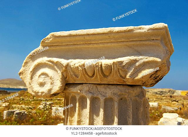 Delphic coloumn capitals of the ruins of the Greek city of Delos, the birthplace of the twin gods Apollo and Artemis  Greek Cyclades Islands
