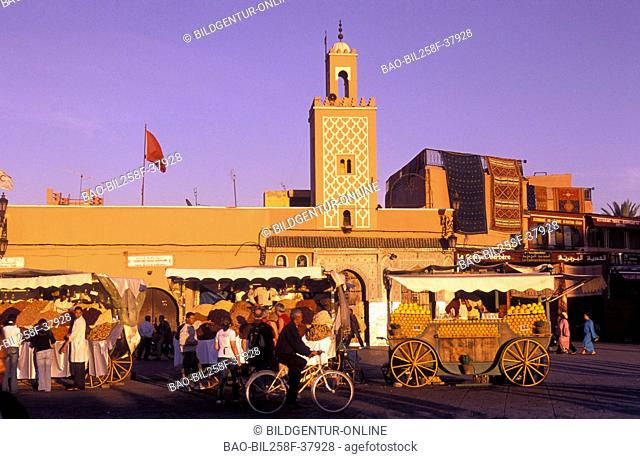 A mosque all around the Djemma el Fna place in the Old Town of Marrakesh in Morocco in North Africa