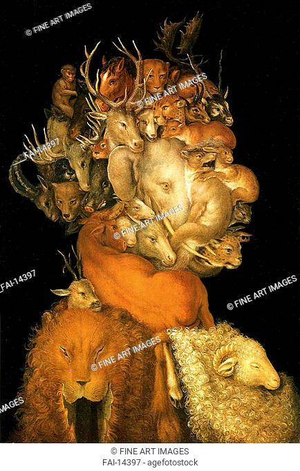 The Earth. Arcimboldo, Giuseppe (1527-1593). Oil on wood. Mannerism. 1570. Private Collection. 70,2x48,7. Painting