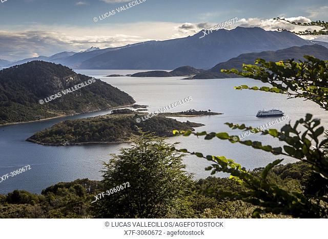 panoramic view of Wulaia Bay, also called Caleta Wulaia, Navarino Island,Tierra de Fuego, Patagonia, Chile