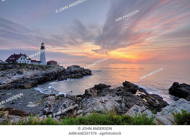 Portland Head Lighthouse, lighthouse at sunrise in South Portland, Maine