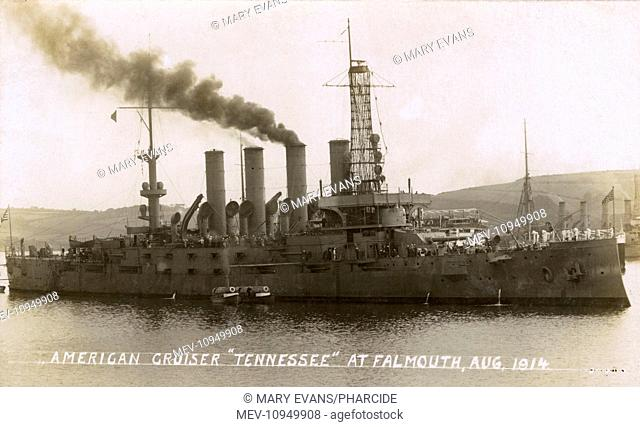 The American cruiser USS Tennessee at Falmouth in August 1914. She was en route to Europe and the Middle East, laden with gold