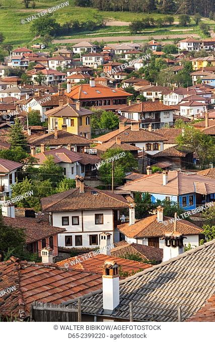 Bulgaria, Central Mountains, Koprivshtitsa, elevated village view
