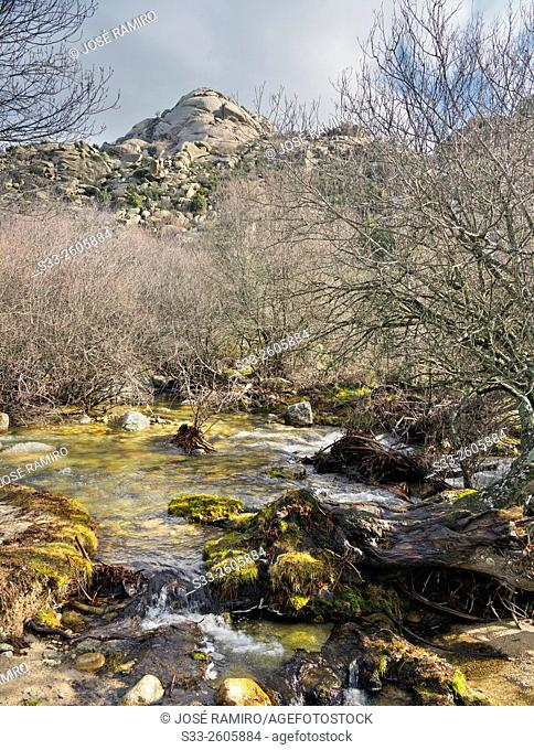 Butron cliff in the Pedriza. Sierra de Guadarrama. Manzanares el Real. Madrid. Spain. Europe