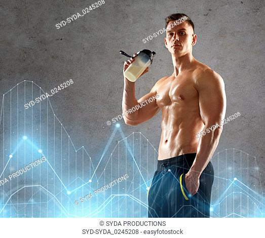 young man or bodybuilder with protein shake bottle