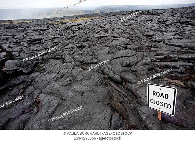 Lava from a 2003 lava flow covering the end of the Chain of Craters Road, Hawaii Volcanoes National Park, Hawaii, USA