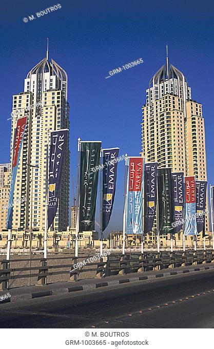 Apartment buildings in Dubai Marina, UAE