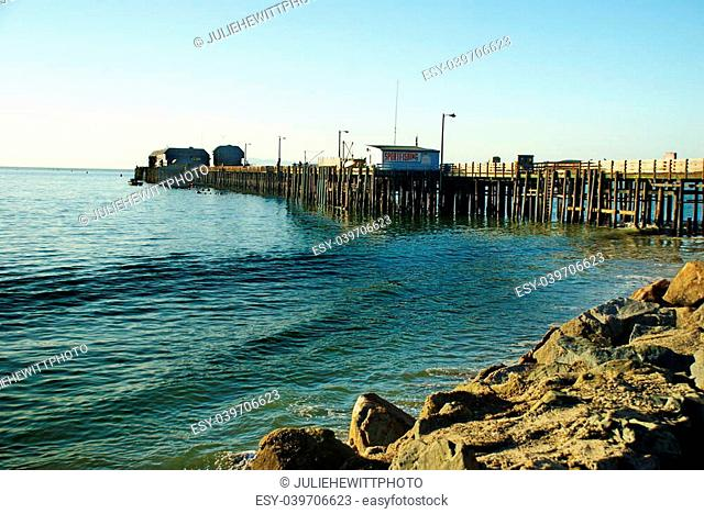 This pier near Pismo Beach, California hosts opportunity for those wishing to participate in sport fishing activities both deep sea and off the pier