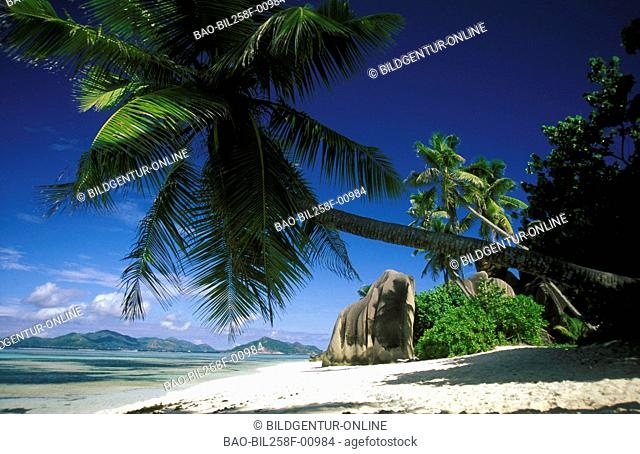 A dream beach on the island La Digue on the Seychelles in the Indian ocean