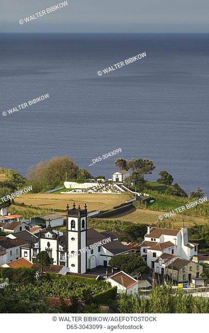 Portugal, Azores, Sao Miguel Island, Santo Antonio, elevated town view