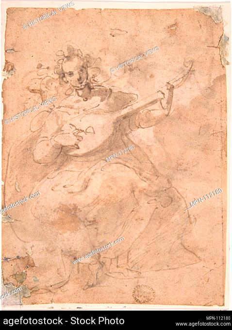 Girl Playing a Lute. Artist: Anonymous, Italian, Roman-Bolognese, 17th century; Date: 17th century; Medium: Pen and brown ink, brush and brown wash