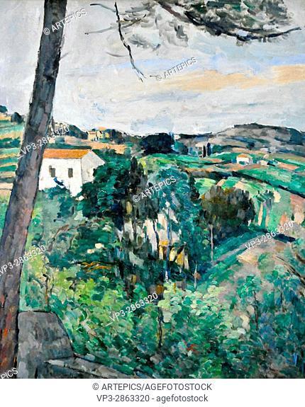 Paul Cézanne . Paysage au toit rouge aka Le Pin a l'Estaque 1876 . Musée de l'Orangerie - Paris