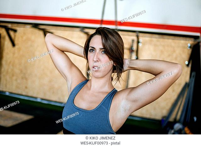 Portrait of a woman in gym