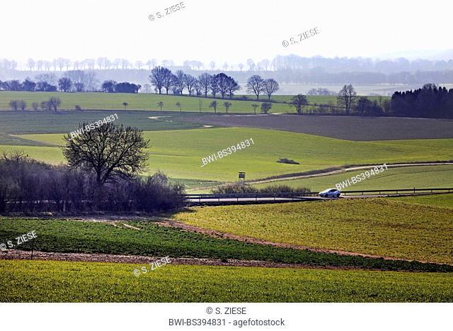extensive landscape of Moehnesee municipality, Germany, North Rhine-Westphalia, Sauerland, Moehnesee