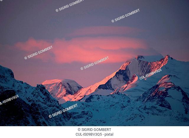 Snow covered alps at sunset, Zermatt, Valais, Switzerland