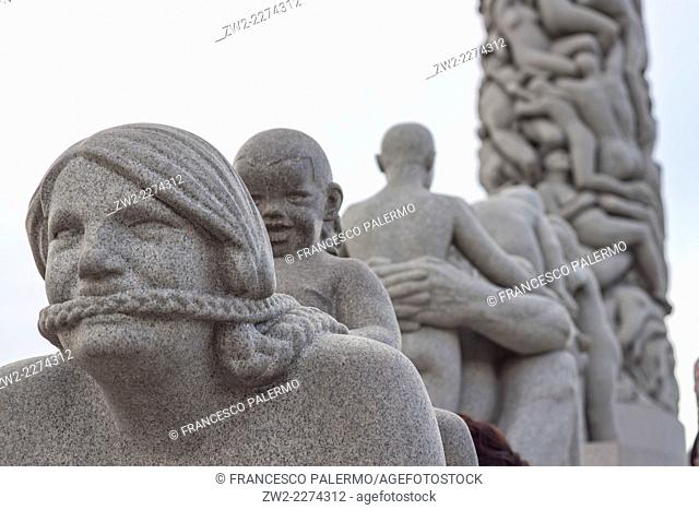 Granite statues illustrating relationships between adults and children. Oslo, Ostlandet. Norway