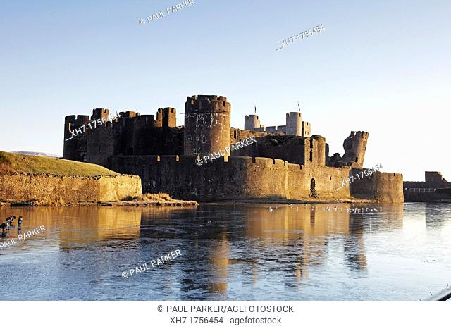 Caerphilly Castle, Caerphilly, South Wales, UK