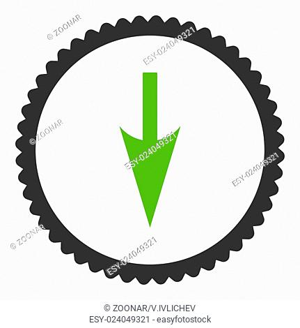 Sharp Down Arrow flat eco green and gray colors round stamp icon