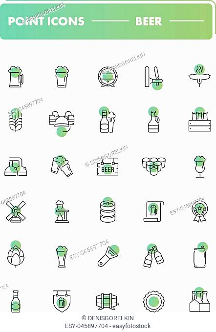 Set of 30 line icons. Beer collection. Vector illustration with drink and food elements for bar, pub or restaurant