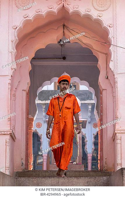 Young sadhu in front of a Hindu temple in Pushkar, Rajasthan, India