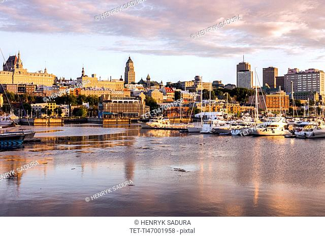 Canada, Quebec, Quebec City, city reflecting in water