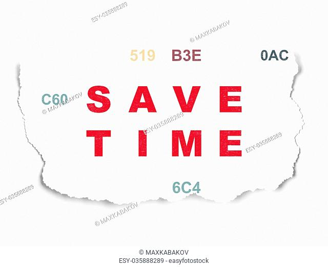 Time concept: Save Time on Torn Paper background