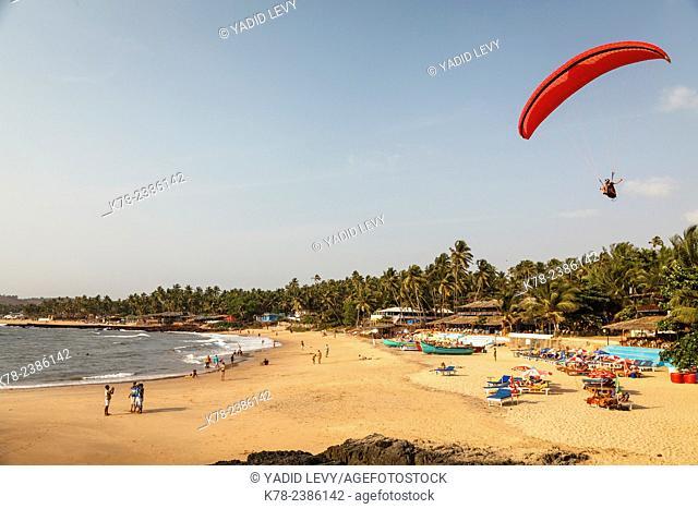 View over South Anjuna Beach, Goa, India