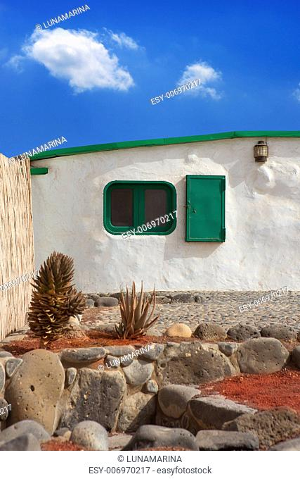 Lanzarote typical white house in costa Papagayo Canary Islands