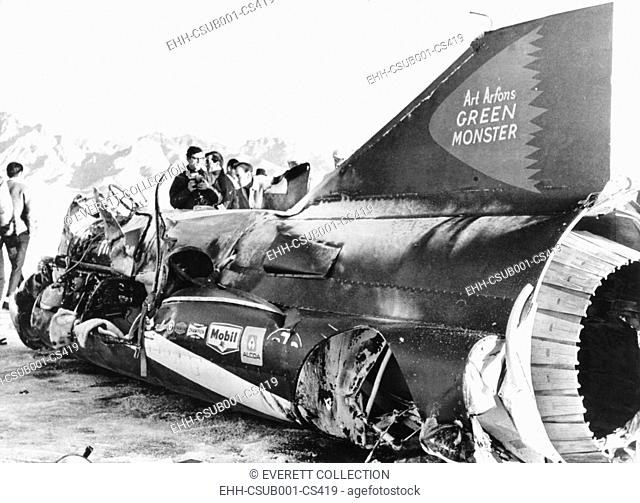 Wreckage of Art Arfons' jet racer, the 'Green Monster', on western Utah's salt flats, Nov. 19, 1966. Art Arfons survived the crash. (CSU-2015-7-423)