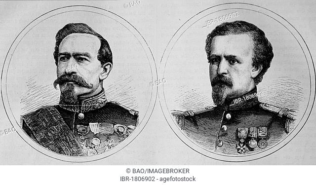Charles Denis Bourbaki, French General, 1816-1897, left, and Pierre Marie Philippe Aristide Denfert-Rochereau, French Colonel, 1823-1878